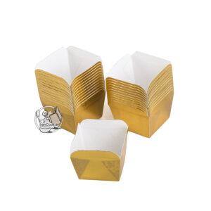 کپسول متالیک مربع طلایی 24 عددی