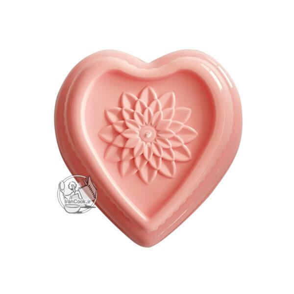 قالب ژله پلاستیکی قلب ته گل دار دار