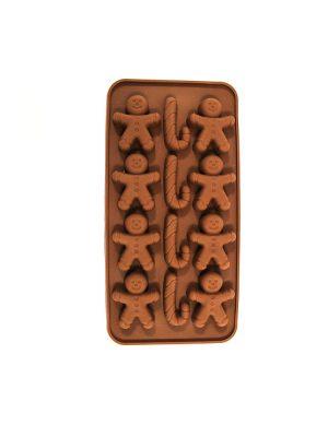 قالب شکلات سیلیکونی آدمک و عصای کریسمسی