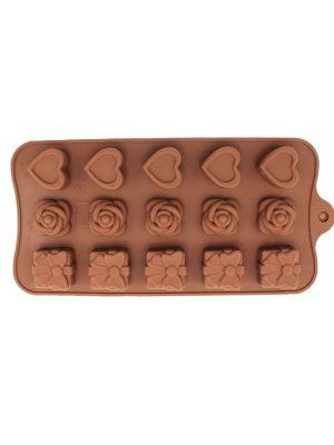 قالب شکلات سیلیکونی 3 طرح رز قلب کادو