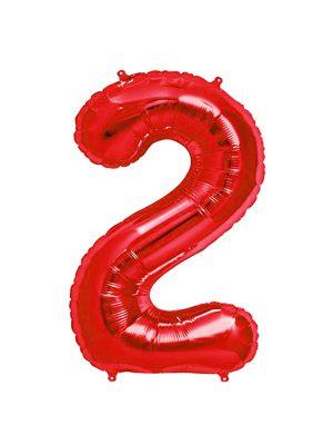 بادکنک فویلی عدد دو قرمز
