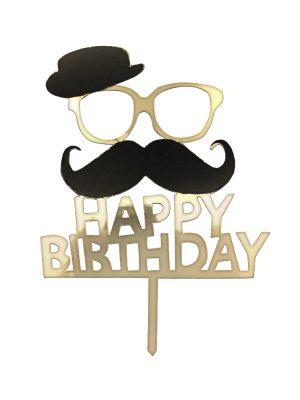 تاپر تولدت مبارک طرح سیبیل و کلاه